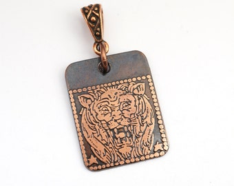Leo pendant, small flat rectangular etched copper Zodiac horoscope lion, optional necklace, 25mm