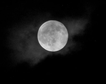 CLOUDY FULL MOON--Full Moon, Lunar Photography, Moon Photography, Full Moon Picture, Moon and Clouds, Picture of Moon, Gift For Moon Lover