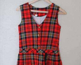 vintage red plaid gold buttons schoolgirls uniform girls jumper dress