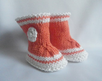 boots - orange - booties - baby - birth gift