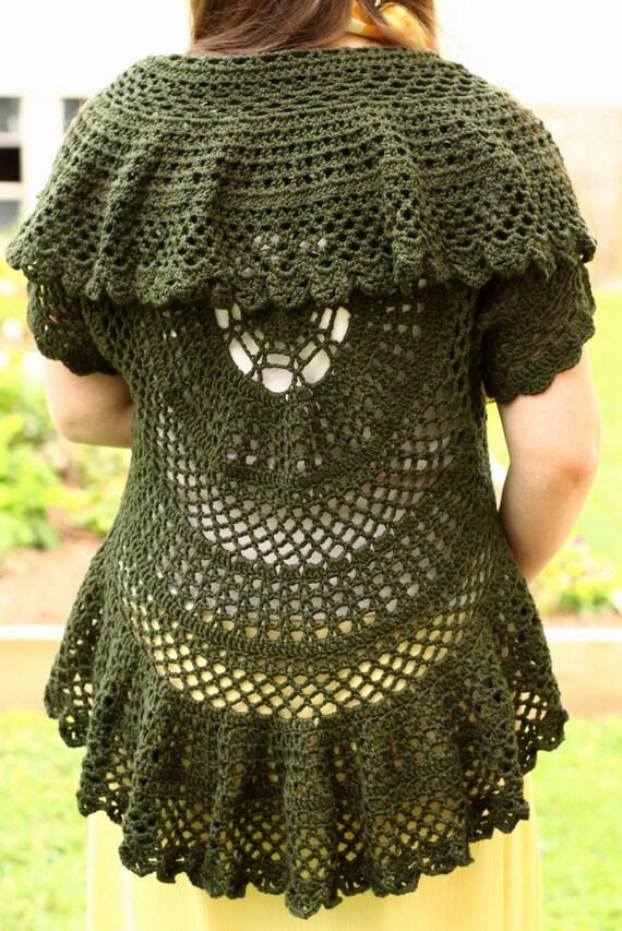 Pattern PDF for Crochet Circle Sweater Lace Cardigan