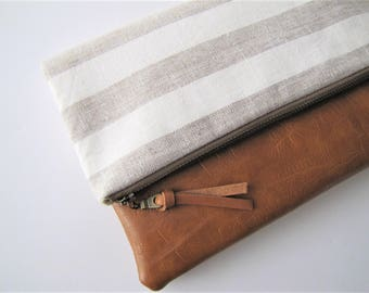 Foldover Clutch, Vegan Leather Clutch Bag, Tan Linen Clutch, evening bag, Fall Clutch, Bridesmaid Gift, Gift for Her, Holiday gift