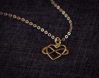 Infinity Love Necklace, 24K Gold Plated, Eternity Love, Infinity Love,  Gold Plated - Dainty Necklace, Friendship, Gift