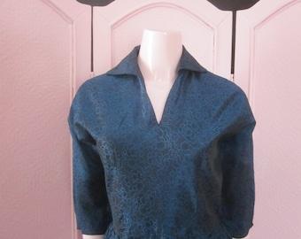 1950s Teal Blue/Black Brocade Dress, Size 4 - 6