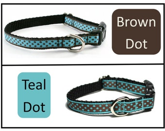 """Chocolate Dots or Teal Dots - Thin Dog Collar - 1/2"""" (13mm) - your choice of dot color and style - Martingale or Quick Side Release Buckle"""