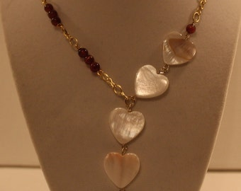 Mother Of Pearl Heart Necklace/Brown Cats Eye Beaded Necklace For Women/Beige And Gold/Y Necklace/White Heart Pendant Necklace/FAST SHIPPING