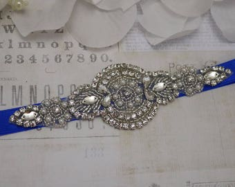 Wedding belt, Blue wedding belt,  bridesmaid belt, flower girl belt, bridesmaid belt, sash belt, crystal rhinestone belt, dress belt