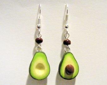 Food Jewelry Avocado Earrings, Miniature Food Earrings, Mini food, Gift for Vegetarian, Avocado Jewelry, Kawaii Earrings, Vegan Jewelry