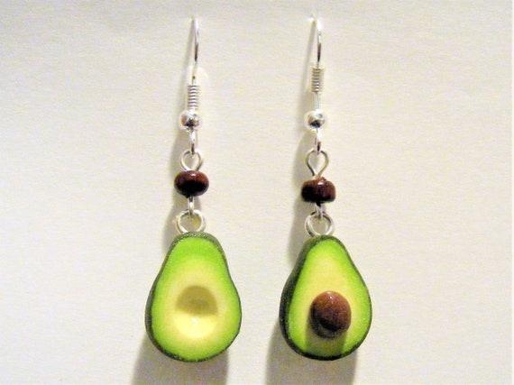 Avocado Earrings, Miniature Food Earrings
