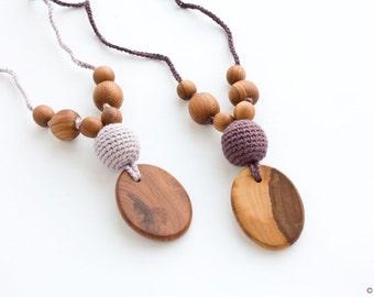 Silk & Wood Teething Necklace   Nursing Necklace   Breastfeeding   Teething Beads   New Mom Gift   NP38