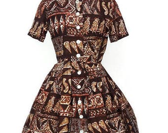 Vintage Tiki Shirtwaist dress / Vintage pineapple print dress