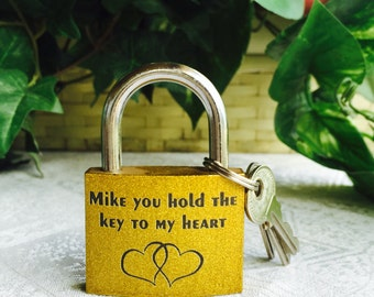 """1 Personalized 2"""" Glittering Gold Padlock Gift w/ 3keys for Valentines day, Wedding favors or any event!"""