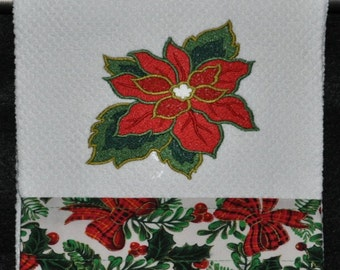 """Embroidered Dish Towel """"Poinsettia"""""""