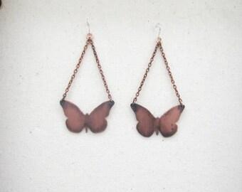 Copper Butterfly Earrings, Copper Earrings, Butterfly Earrings, Handmade Earrings