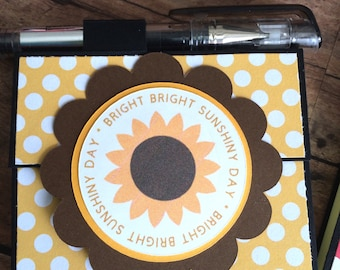 Sunflower Post It Note Holder with Gel Pen: Bright Bright Sunshiny Day