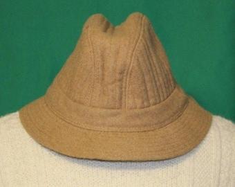 Vintage TOTES Water Resistant Tan Polyester Wool Blend Fedora Rain Hat - Size M