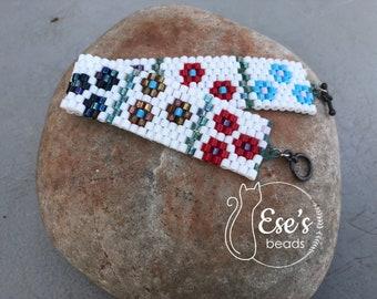 Colorful Floral Hex Delica Bracelet