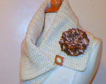 Ivory  Cowl Scarf Infinity Button Neckwarmer Collar  With Flower Brooch Freeform Crochet