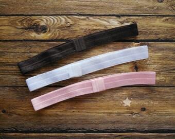 Interchangeable infant headband, Set of 3, light pink, white, brown, interchangable headband, baby girl, infant headband, newborn headband