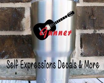 Guitar Personalized Vinyl Decal // Yeti Tervis Tumbler Cup Mug Water Bottle