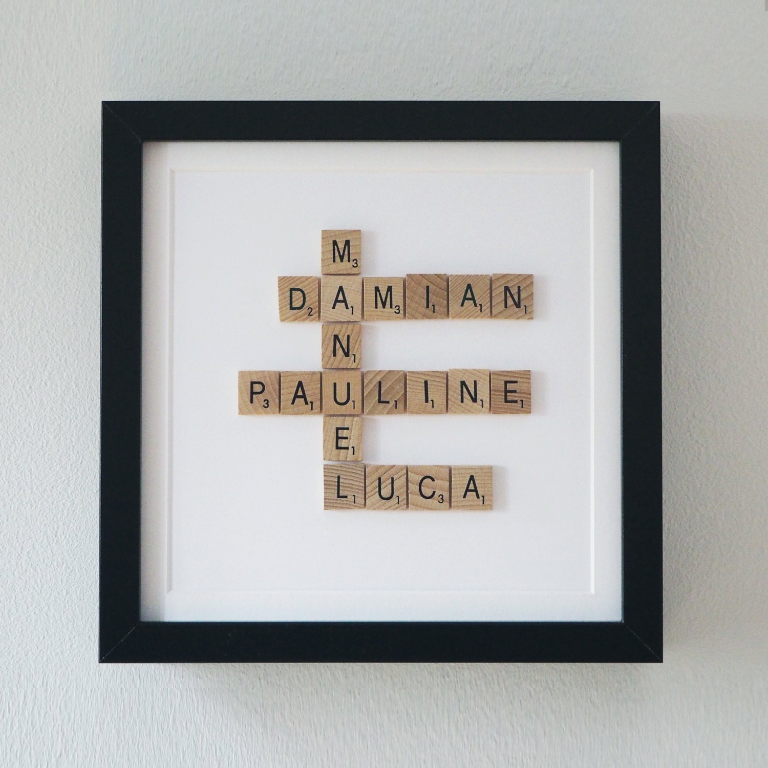 Framed Scrabble Family Tree 5th year anniversary gift wooden
