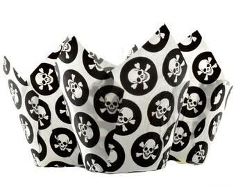 Skull & Cross Bones Pirate Muffin Tulip Wraps x24