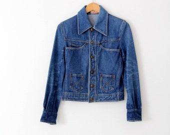1970s denim jacket, vintage Robert Lewis jean jacket, small 70s denim jacket
