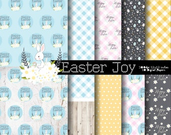 Easter Joy Easter Digital Paper and Clip art Set  I N S T A N T • D O W N L O A D Easter  and Spring Scrapbooking papers