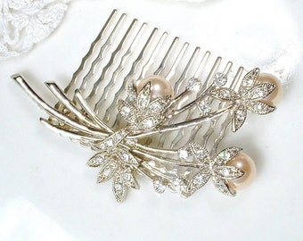 OOAK Vintage Champagne Pearl & Rhinestone Bridal Hair Comb, Art Deco Lacy Floral Spray Crystal Hairpiece 1920s Wedding Accessory Headpiece