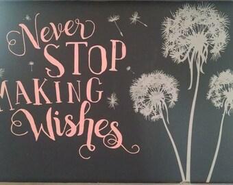 Never Stop Making Wishes Dandelions Framed Chalkboard