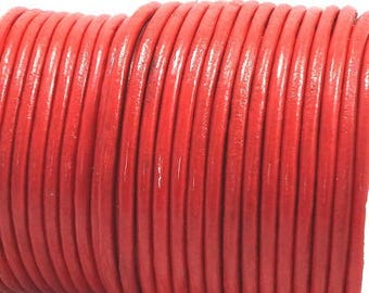 round leather red 3mm by 50 cm