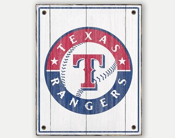 Texas Rangers sign - Print applied to wood - Texas Rangers fan gift - Man cave Boys room Sports Bar decor Fathers Day gift for Dad