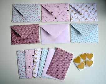 6 Envelopes and notecards, 8cm x 12cm approx, Belle and Boo designs