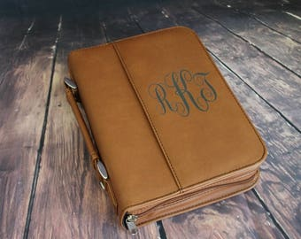 Select Size-Bible Case Cover Rawhide Brown Laser Engraved Monogram Bible Case Cover with Zipper Closure-Monogram Bible Case-Bible Cover
