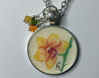 Yellow Orchid - Original Mini Watercolor Painting Necklace
