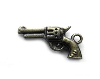 6 Bronze Gun Charms