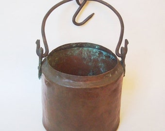 ON SALE NOW Vintage Copper Hanging Pot with Cast Iron Handle and Hook