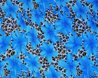 fabric polyester printed flower motifs 2 meters
