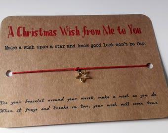 Christmas wish bracelet, stocking filler, Teachers Christmas gift, thank you gift, Secret Santa gift, Wish bracelet.
