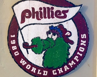 Hand Painted, Vintage Styled Philadelphia Phillies Championship Sign / Plaque