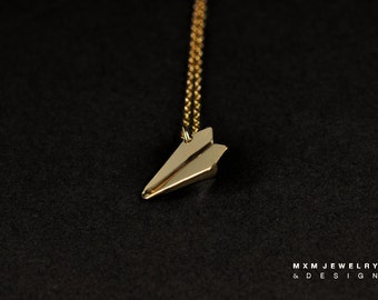 Small / The Original HandFolded Paper Airplane Necklace / Gold