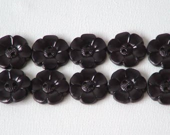 SALE Lot of 10 Flower Buttons - 1 Inch-  Black WAS 4.50 NOW 3.50
