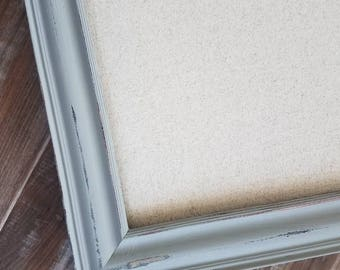 Farmhouse Light Gray Corkboard -  Linen Bulletin Board-  Many Sizes - Magnet Board-  Large Bulletin Board -Long and Narrow- Memo Board