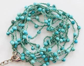 Three strand Hand Crochet Necklace with Blue Howlite Turquoise beads - 1 pc