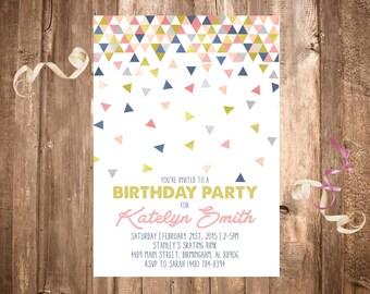 Geometric Shapes Birthday Invitation; Confetti; Printable or set of 10