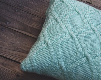 Knit pillow case, decorative pillow, cable pillow cover, cable knit cushion in mint color