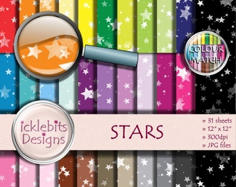 "Stars Digital Paper Pack ~ ""STARS"" ~ 31 Sheets ~  Christmas digital paper ~ PU and CU Scrapbooking Paper ~ Rainbow Paper ~ Design #99"