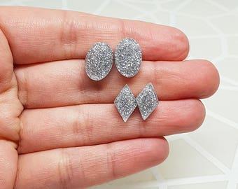 SILVER GLITTER Studs Hypoallergenic Handmade Resin Earrings