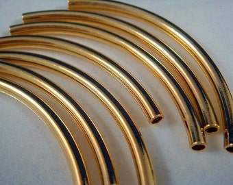 10 Curved Tube Bead Gold Plated Brass 50x3mm (2 inches) 2mm hole - 10 Pc - M7017-G10