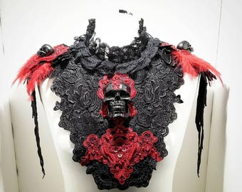 Vampire red black skull collar with feathers-red black skull neck with feathers single piece